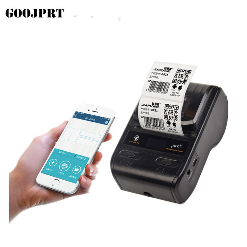 Portable 58mm Barcode Label Printer 100km Printing Life With Android Platform